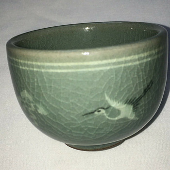 Korean celadon crane and cloud tea cups, early 1980s - Pottery