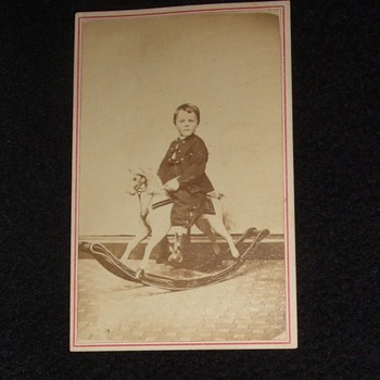 CDV of child on rocking horse
