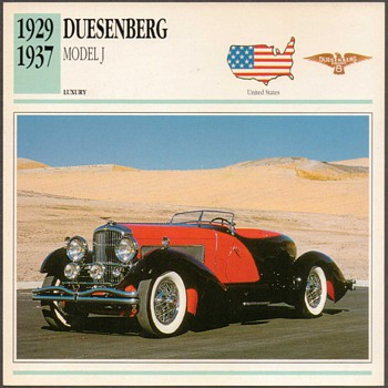 Vintage Car Card - Duesenberg Model J - Cards