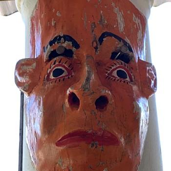Mexican Dance Mask in Bright Orange - Fine Art