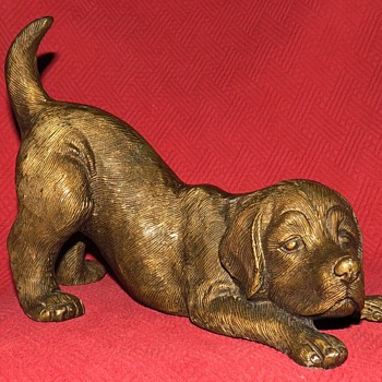 Cast Aluminum Labrador Retriever Puppy - Animals