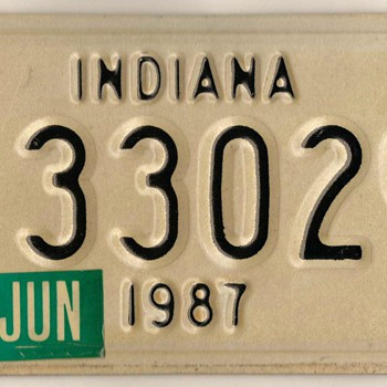 1987 - Motorcycle License Plate (Indiana) - Classic Cars