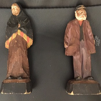 Late 1800  - Early 1900 Carvings of Old Woman and Man  - Figurines