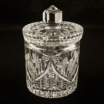 Crystal Biscuit or Cookie Jar With Lid Canister Heavy Cut Glass - Glassware