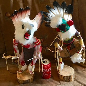 """Homer Lefthand Vintage Pair of 19"""" Hopi Kachina Cottonwood Root Doll Statues - Native American"""