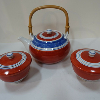 Genemon kiln Japanese pottery tea set - Asian