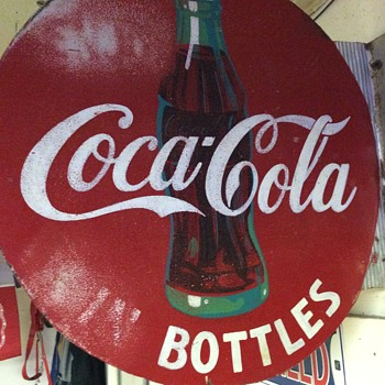 Flanged coke sign - Coca-Cola