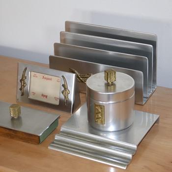 Kensington Aluminum Art Deco Desk Set - Art Deco