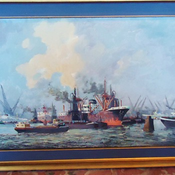 WOW!  Update Dutch oil painting!  Ghostship!! by Ter Verdoenk 3' X 2'  The SS Ourang Medan - Fine Art