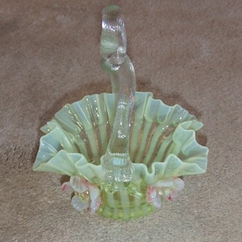 Art Glass Basket with applied flowers - Art Glass