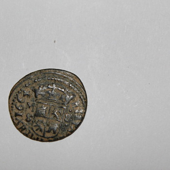 Old Unknown 1664 coin.  Crown and portrait Philip M 8