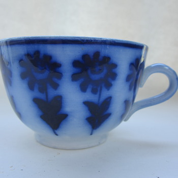 Mystery Porcelain Cups Flow Blue Antique Maybe German or French? - China and Dinnerware