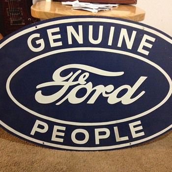 "vintage ""Genuine Ford People"" steel sign"