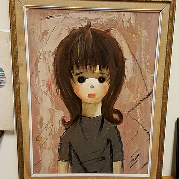 Large eyed Girl original 1960's Painting. - Fine Art