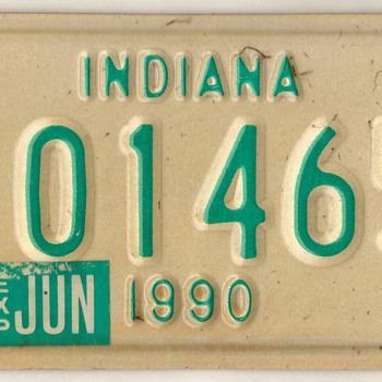 1990 - Motorcycle License Plate (Indiana) - Classic Cars