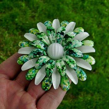 Enamel Flower Power Brooch - Costume Jewelry