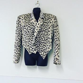 Vintage 90's Dalmatian Velvet Bolero Double Breasted Tuxedo Cut Jacket - Womens Clothing