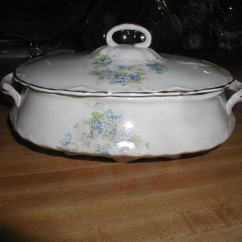 """Gorgeous Antique White China Serving Dish & Lid with Blue Flowers & Gold Accents - Stamp Reads partial """"TRC 7 20..."""" - China and Dinnerware"""