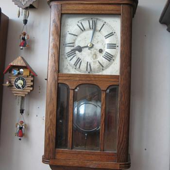 Antique 1920's German HAC chiming wall clock.