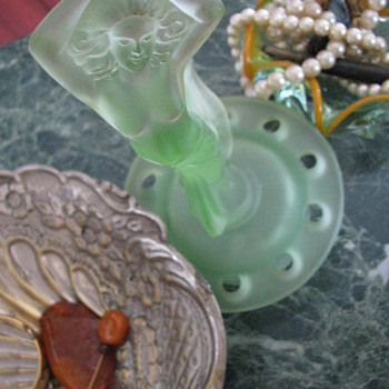 Josef Inwald Dancing Girl: Uranium Glass Centerpiece - Art Glass