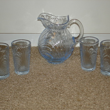 Tiny Depression Glass Pitcher and Glasses - Glassware