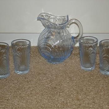 Tiny Depression Glass Pitcher and Glasses - Glassware