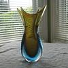 Sommerso blue/amber vase