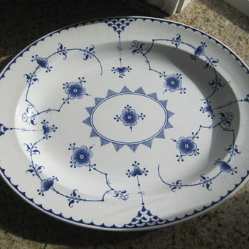 Furnivals Denmark Blue 13 in Platter.  I'm trying to date and value it?? Backstamp and incised marks on back. Thanks - China and Dinnerware