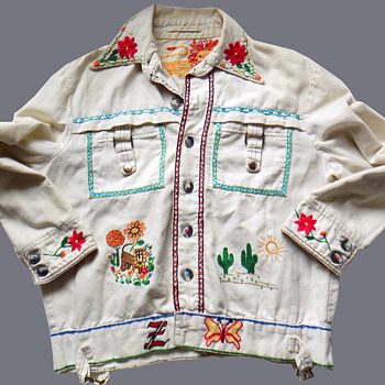 Vintage White Denim Hippie Jacket Embroidered in 1970s