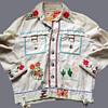 Vintage White Denim Hippie Jacket Embroidered in 1970s