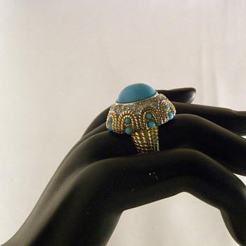 Vintage Joseph Mazer Turquoise Cabochon Rhinestone Ring