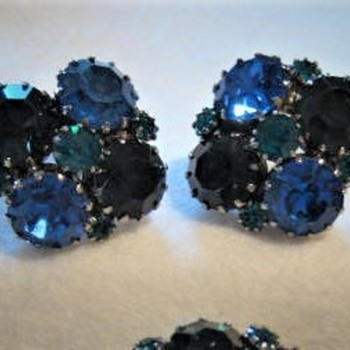 Update # 2:  WEISS TWO TONE BLUE EARRINGS to match the BROOCH - Costume Jewelry