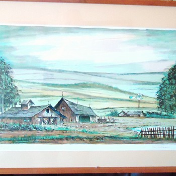 Farm Print by J Suarez? (do you read the same?) numbered and pencil signed
