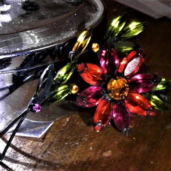Fushia Pink &  Orange floral brooch - Costume Jewelry