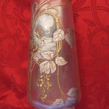 Mont Joye Chipped Ice Vase with enameled scene