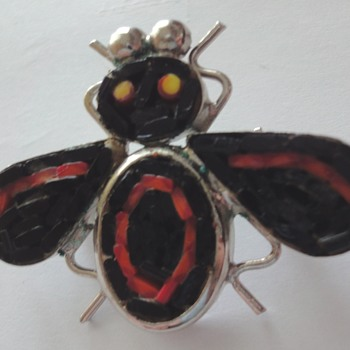 40-50s Mosaic bee brooch - Costume Jewelry