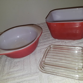 little red and white PYREX - Kitchen