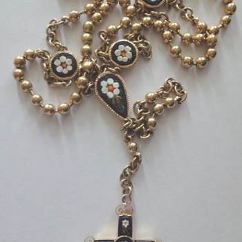 Gilded Micro Flower Mosaic Rosary - Fine Jewelry