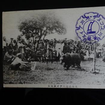 Photo Postcard Bear association with Ainu People - Postcards