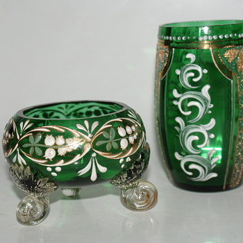 Green Glass with Enamel Decoration  - Glassware