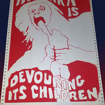 "Vintage 1970 UC Berkeley Anti Vietnam War Protest Poster ""Amerika is Devouring its Children"" - Politics"