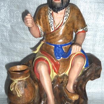 Asian porcelain pottery figure signed