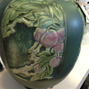 Art Pottery Vase with Cherries - Pottery