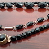 Antique french jet necklaces&1930s rock crystal necklace