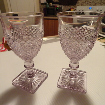 miss america  pattern depression glass goblets lilac colored