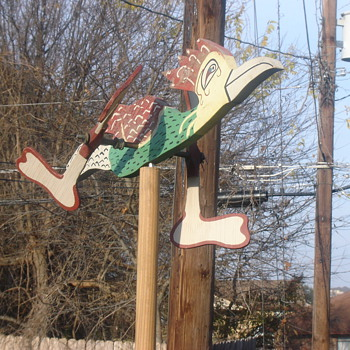 Folk Art Road runner yard ornament, bikes - Folk Art