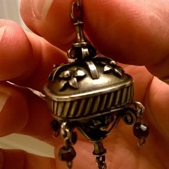 Silver & Garnet Fob Pendant Flea Market Find $10 - Fine Jewelry