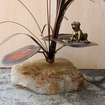 Cattails, Lilypads and a Bronze Frog Sculpture Attributed to Curtis Jere - Fine Art