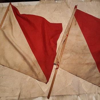 Saturday Evening Scout Post Boy Scout Semaphore Flags (Actually US Army I Think) - Military and Wartime