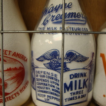 WAYNE CREAMERY WAR SLOGAN MILK BOTTLE - Bottles